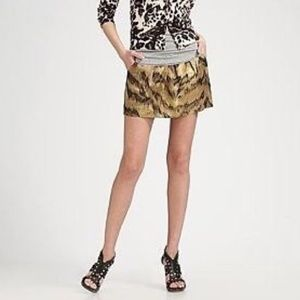 Diane Von Furstenberg Palace Tiger Gold Mini Skirt